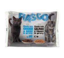 RASCO Cat s lososom a pstruhom / s kuracím a hovädzím 4 x 100g 400g